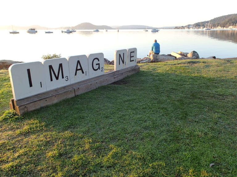 Imagine sign at koolewong foreshore close to person centered therapy practice of Wendy GibsonCentral Coast