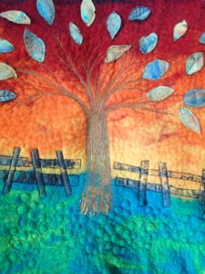 felt and textile image of a tree used to ground in professional counselling supervision